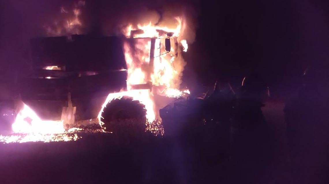Se incendió cosechadora